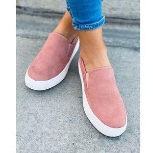 Soft micro suede slip on sneaker